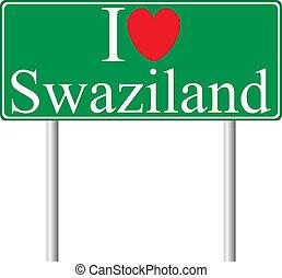 swaziland, concetto, amore, segno strada