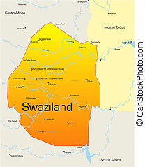 Swaziland  - Abstract vector color map of Swaziland country