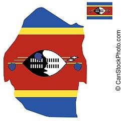 Swaziland Flag - Flag of the Kingdom of Swaziland overlaid...
