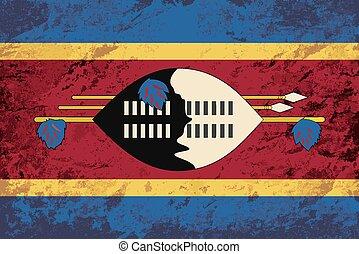 Swaziland flag. Grunge background.