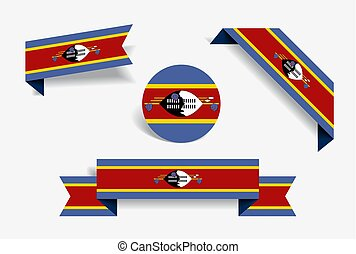 Swaziland flag stickers and labels. Vector illustration. -...