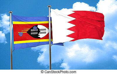 Swaziland flag with Bahrain flag, 3D rendering