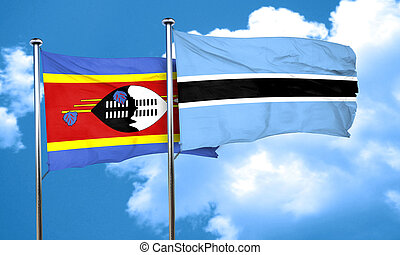 Swaziland flag with Botswana flag, 3D rendering