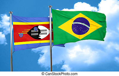 Swaziland flag with Brazil flag, 3D rendering