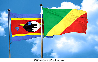 Swaziland flag with congo flag, 3D rendering