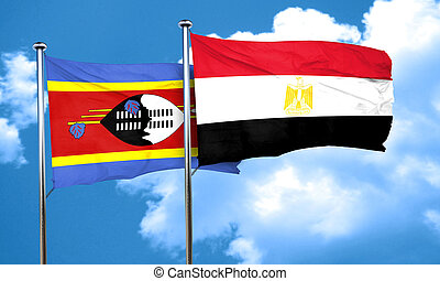 Swaziland flag with egypt flag, 3D rendering