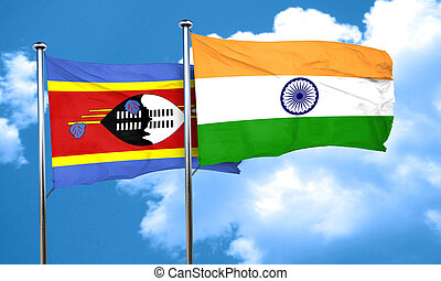 Swaziland flag with India flag, 3D rendering