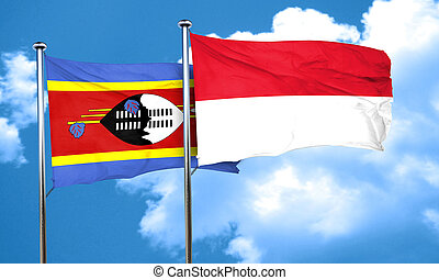 Swaziland flag with Indonesia flag, 3D rendering