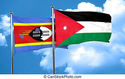 Swaziland flag with Jordan flag, 3D rendering