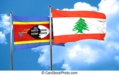 Swaziland flag with Lebanon flag, 3D rendering
