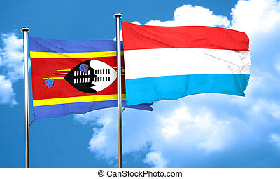 Swaziland flag with Luxembourg flag, 3D rendering
