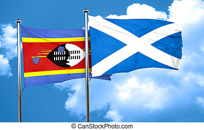 Swaziland flag with Scotland flag, 3D rendering