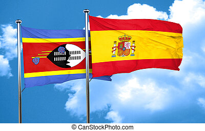 Swaziland flag with Spain flag, 3D rendering