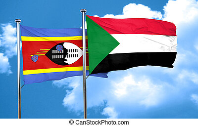 Swaziland flag with Sudan flag, 3D rendering