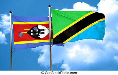 Swaziland flag with Tanzania flag, 3D rendering