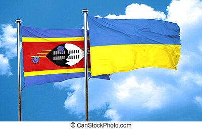 Swaziland flag with Ukraine flag, 3D rendering