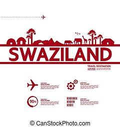 swaziland, großartig, illustration., bestimmungsort, reise, ...