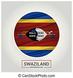 Swaziland Independence Day Waving Flag