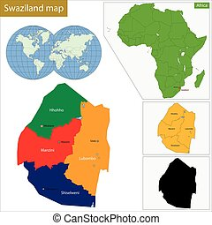 Swaziland map - Administrative division of the Federal...