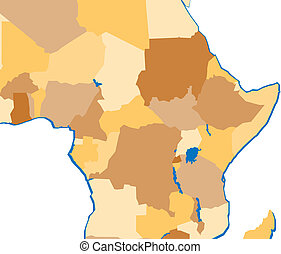 Swaziland marked in a map of africa