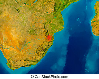 Swaziland on physical map