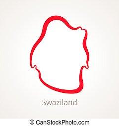 Swaziland - Outline Map - Outline map of Swaziland marked...