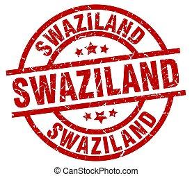 Swaziland red round grunge stamp