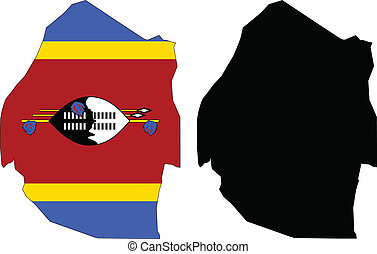 swaziland - vector map and flag of Swaziland with white...