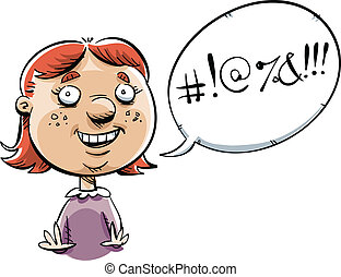 Swearing Girl - A cartoon little girl, swearing like a...