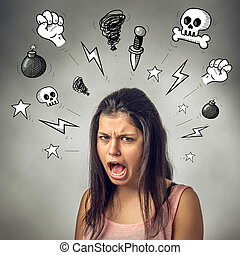 Swearing Girl - Angry teenager girl with furious expression...