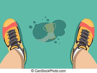 Vector sweat drip on floor reflex hand grab trophy