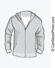 Sweat shirt with hood.