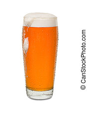 Sweated Craft Pub Beer Glass with Dollop of Foam and Dip Running Down Side of Glass #1