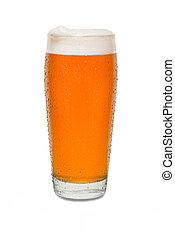 Sweated Craft Pub Beer Glass with Dollop of Foam on Lip of Glass #1