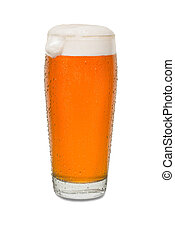 Sweated Craft Pub Beer Glass with Dollop of Foam on Side of Glass #1