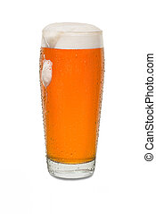 Sweated Craft Pub Beer Glass with Dollop of Foam Running Down Side of Glass #1