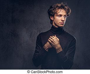 sweater., creativ, negro, retrato, macho, charismatic,...