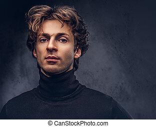 sweater., creativ, negro, retrato, macho, charismatic, ...