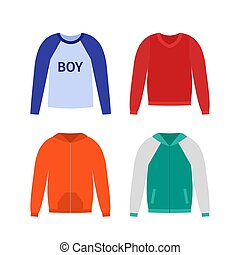 Sweater for boy. Vector illustration in flat design.