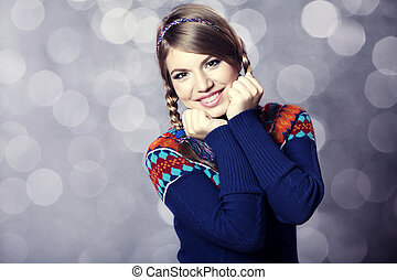 sweater., girl, agréable