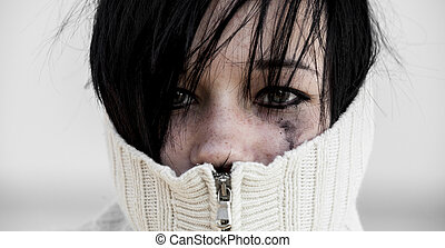 sweater., girl, triste