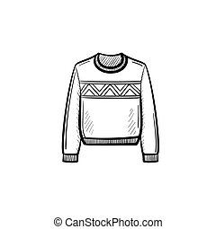 Sweater hand drawn sketch icon.