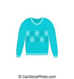 Sweater icon. Vector illustration. Blue pullover. Flat design.