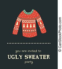 sweater invitation - vector template of a Christmas card,...