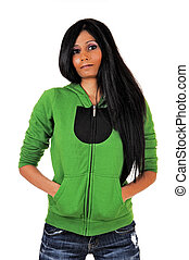 sweater., menina, verde