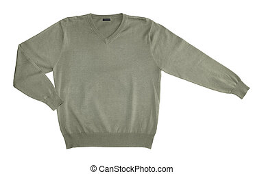 Sweater - Green cotton knitwear sweater isolated on white