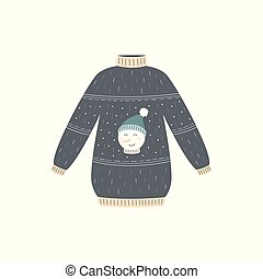 sweater, vinter, ful, hatt, snögubbe, lycklig, grå, jul