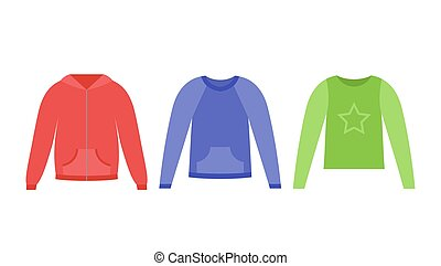 Sweaters for girl. Vector illustration in flat design.
