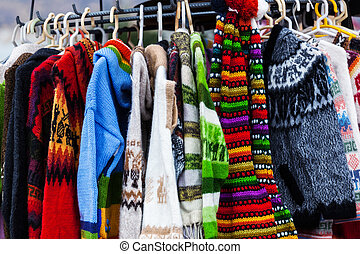 sweaters from alpaca wool on the market in Peru