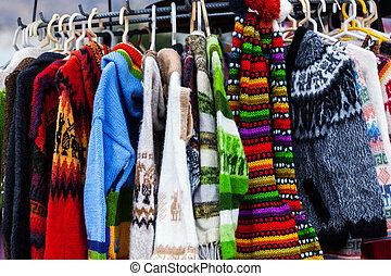 sweaters from alpaca wool on the market in Peru